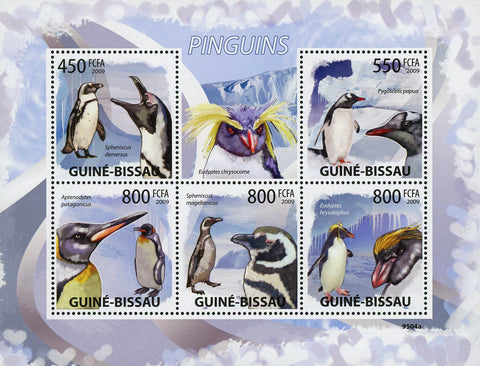 Penguin Bird Ocean Snow Winter Souvenir Sheet of 5 Stamps Mint NH