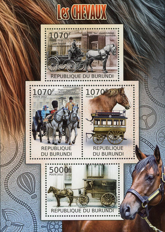 Horses Drawn Carriage Charriot Souvenir Sheet of 4 Stamps MNH