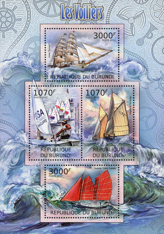 Sailboat Ocean Marine Transportation Souvenir Sheet of 4 Stamps MNH