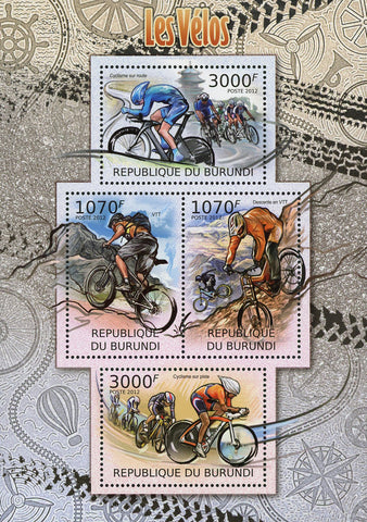 Bikes Bicycles Transportation Souvenir Sheet of 4 Stamps MNH