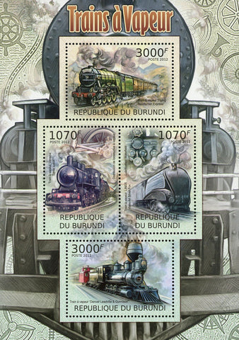 Steam Train Locomotive Transportation Souvenir Sheet of 4 Mint NH