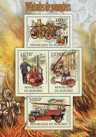 Firefighters Vehicles Fireman Souvenir Sheet of 4 Stamps MNH