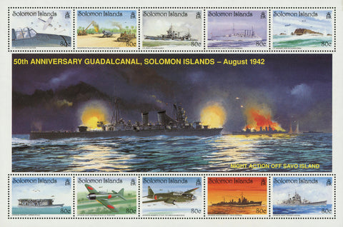 Guadalcanal Battle Ship Airplane Transportation Sov. Sheet of 10 Stamps MNH