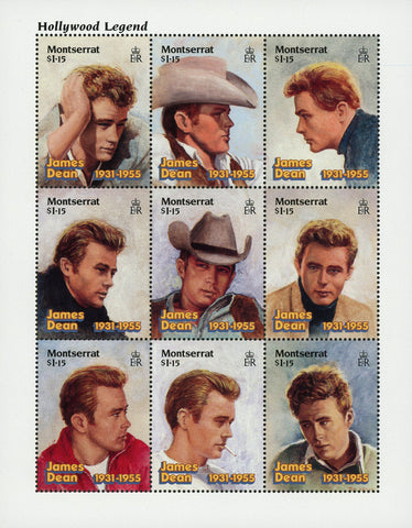 James Dean Actor Famous Celebrity Souvenir Sheet of 9 Stamps MNH