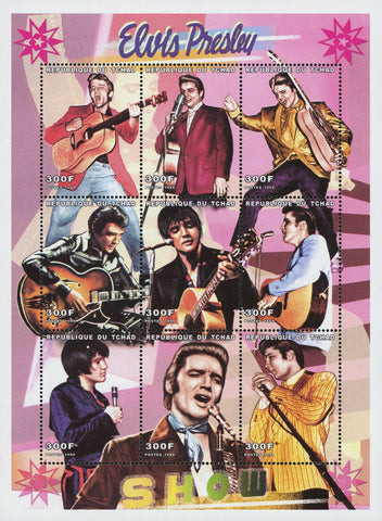 Elvis Presley Rock n' Roll Singer Famous Sov. Sheet S/S of 9 MNH