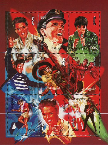 Elvis Presley Rock n' Roll Singer Famous Sov. Sheet of 9 MNH