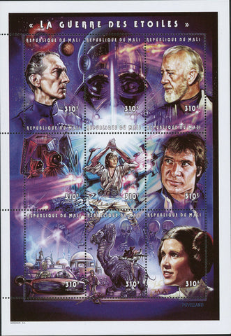 Star Wars Movie Characters Sov. Sheet of 9 Stamps Mint NH