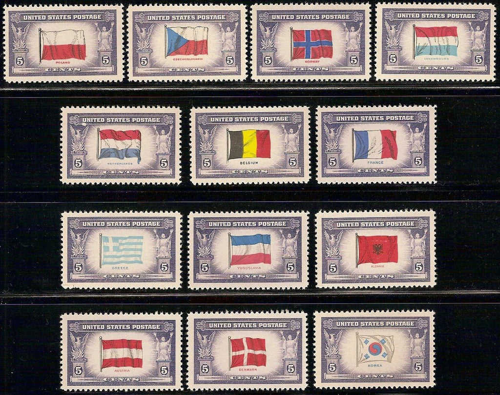 USA Stamps 1943 Overrun Countries of World War II Scott 909-921 Mint MNH