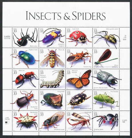 Insects & Spiders USA 3c Stamp Sheet Set of 20 Different Stamps MNH