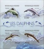 Dolphins, Marine fauna, Ocean life, Fish, Imperforate Souvenir Sheet Min
