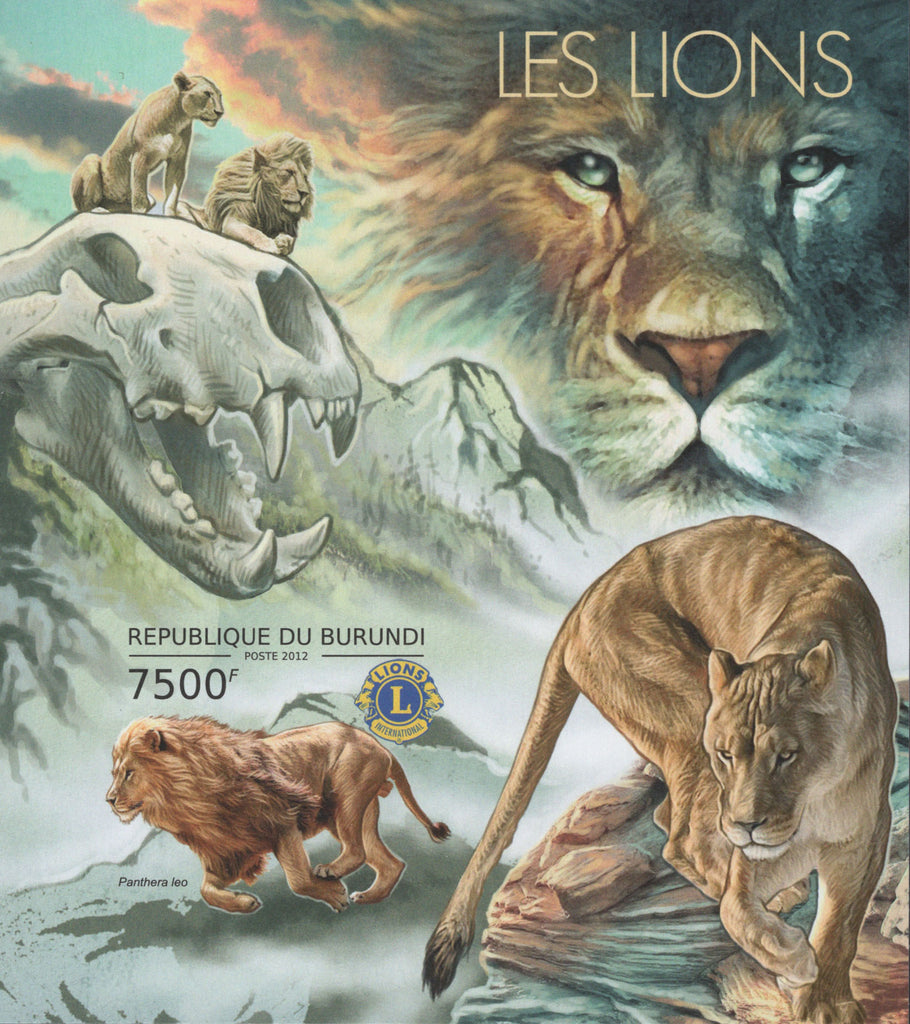 Lions Animals Mountains Imperforated Souvenir Sheet MNH