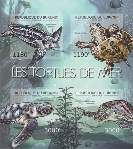 Sea Turtles Imperforated Souvenir Sheet of 4 Stamps MNH