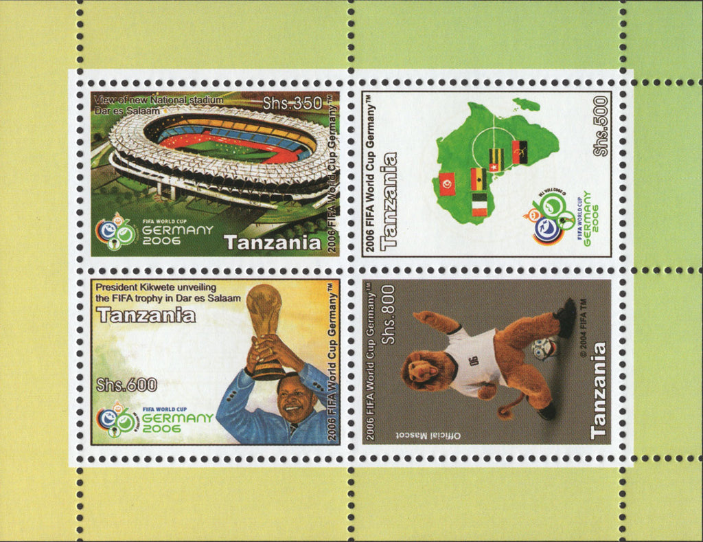 Tanzania FIFA World Cup Germany Soccer Souvenir Sheet of 4 Stamps MNH