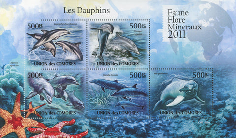 Fauna Dolphins Souvenir Sheet of 5 Stamps Mint NH