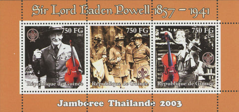 Sir Lord Baden Powell Violin Souvenir Sheet of 3 Stamps MNH