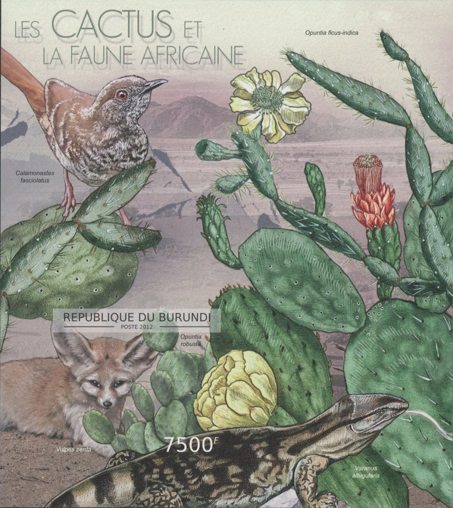 African Fauna Cactus Birds Reptiles Imperforated Souvenir Sheet Mint NH