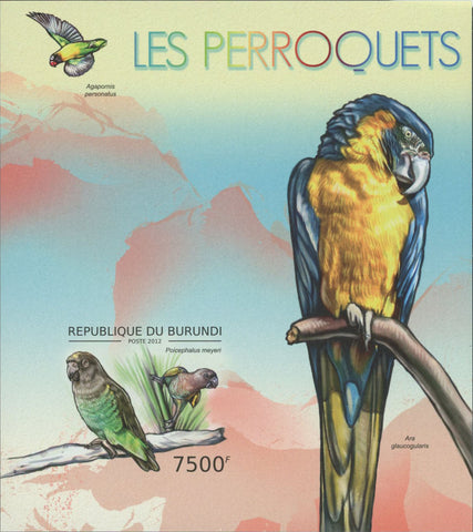 Parrots Birds Imperforated Souvenir Sheet Mint NH