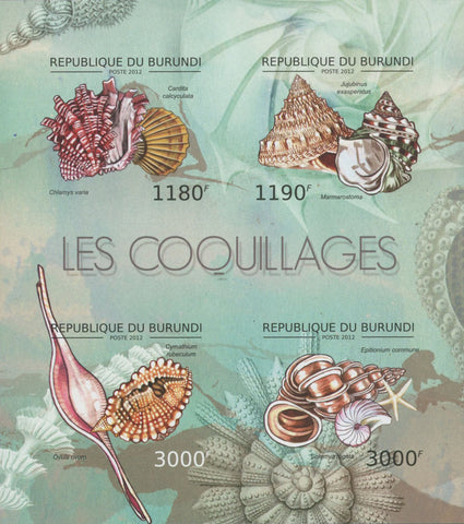 Shells Ocean Sea Imperforated Souvenir Sheet of 4 Stamps Mint NH