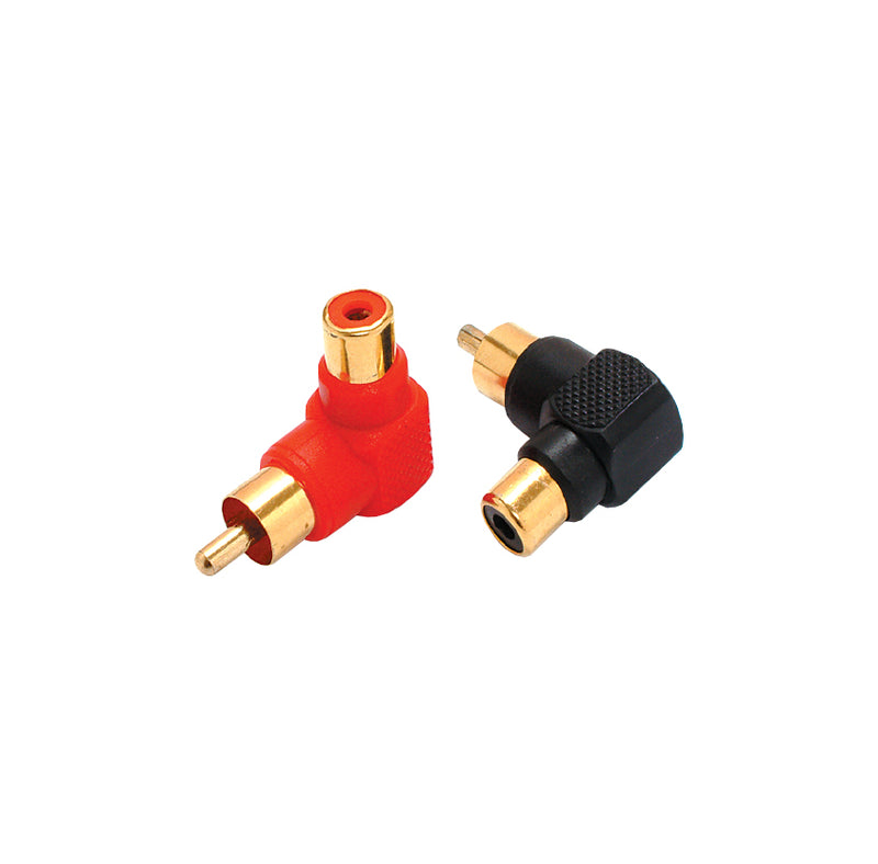 P-121BL Gold Right Angle RCA Jack to RCA Plug Connector w/ Plastic Body