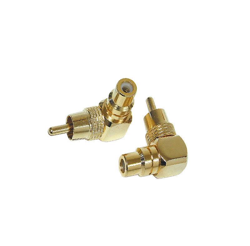 Q-121 Gold Right Angle RCA Jack to RCA Plug Connector