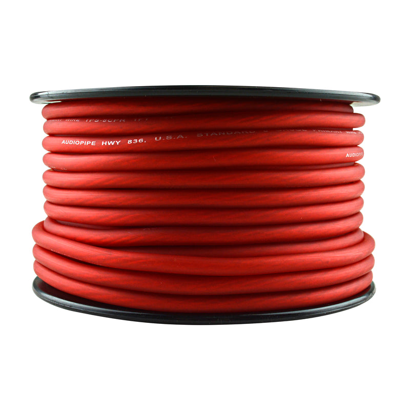 TPS-8CPR-100R - 8 Gauge 100' 100% Copper Flexible Primary Wire - Red