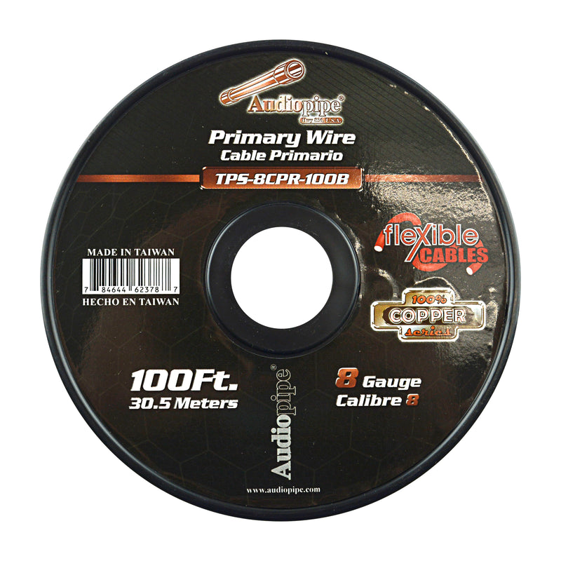 TPS-8CPR-100B - 8 Gauge 100' 100% Copper Flexible Primary Wire - Black