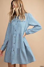Load image into Gallery viewer, Mario Striped Chambray Dress