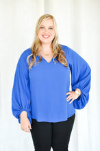 Load image into Gallery viewer, Bishop Sleeve Top - Blue