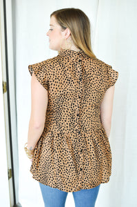 Spotted Button Back Top