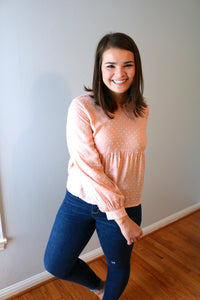 Cute in Coral Textured Blouse