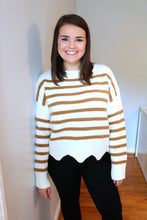 Load image into Gallery viewer, Striped Scallop Sweater