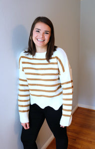 Striped Scallop Sweater