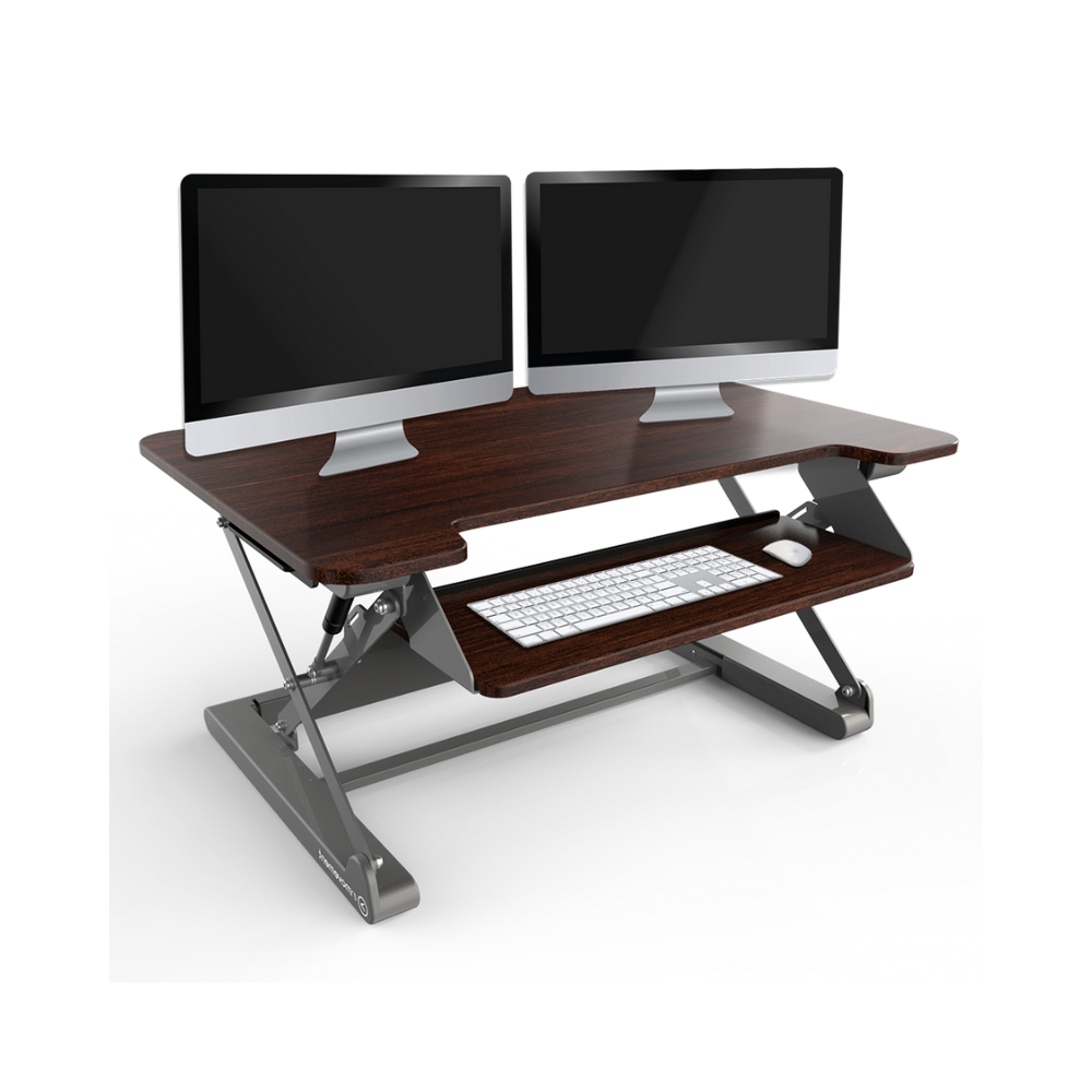 InMovement Standing Desk Converter with 2 monitors