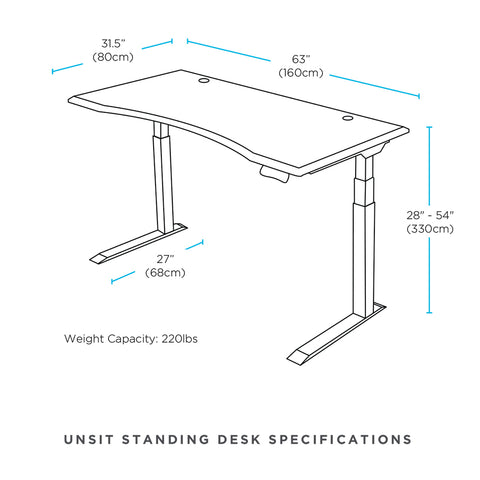 "63"" x 231"" Unsit Standing Desk Dimensional Illustration"