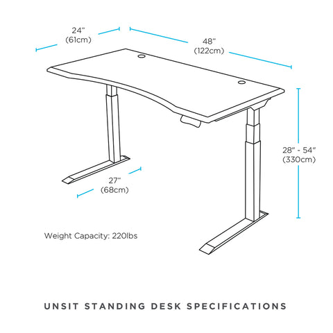 "48"" x 24"" Unsit Standing Desk Dimensional Illustration"