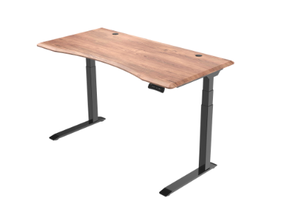 Unsit Standing Desk - empty with black frame and teak top