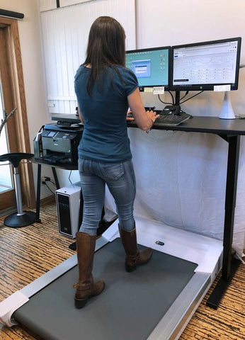 Unsit Treadmill Desk with Lisa Witt walking on it, shot from behind