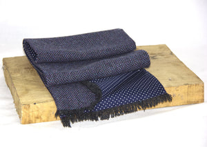 Brenin Tweed Scarf with Navy Polka Dot Lining