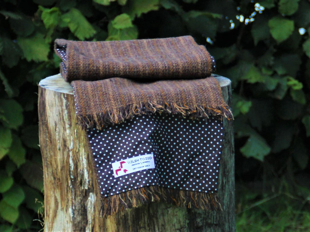Emlyn Tweed with Chocolate Polka Dot Lining