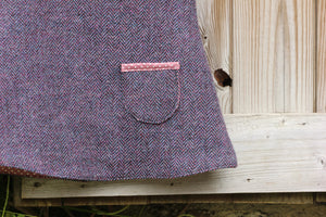 Purple Herringbone Tweed Pinafore