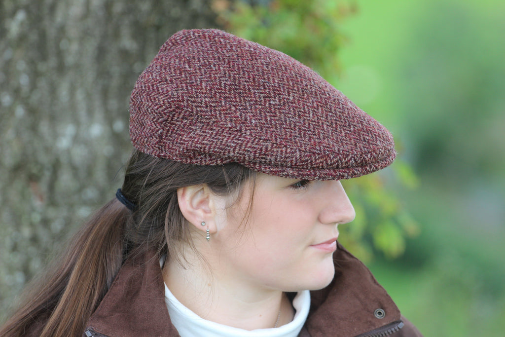 Burgundy Tweed Flat Cap