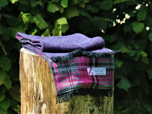 Tenby Tweed with Pink Check Lining