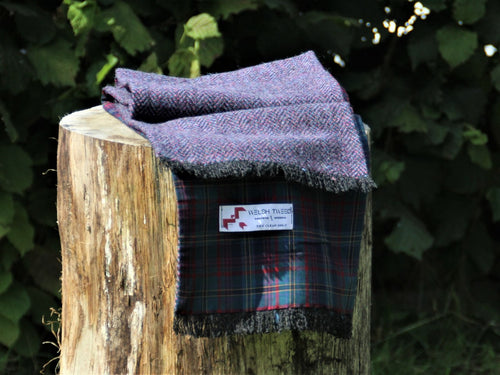 Tenby Tweed with Red and Green Check Lining