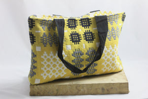 Yellow Welsh Tapestry Reversible Tote Bag