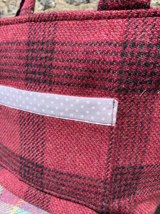 Cerise Check Tweed Handbag