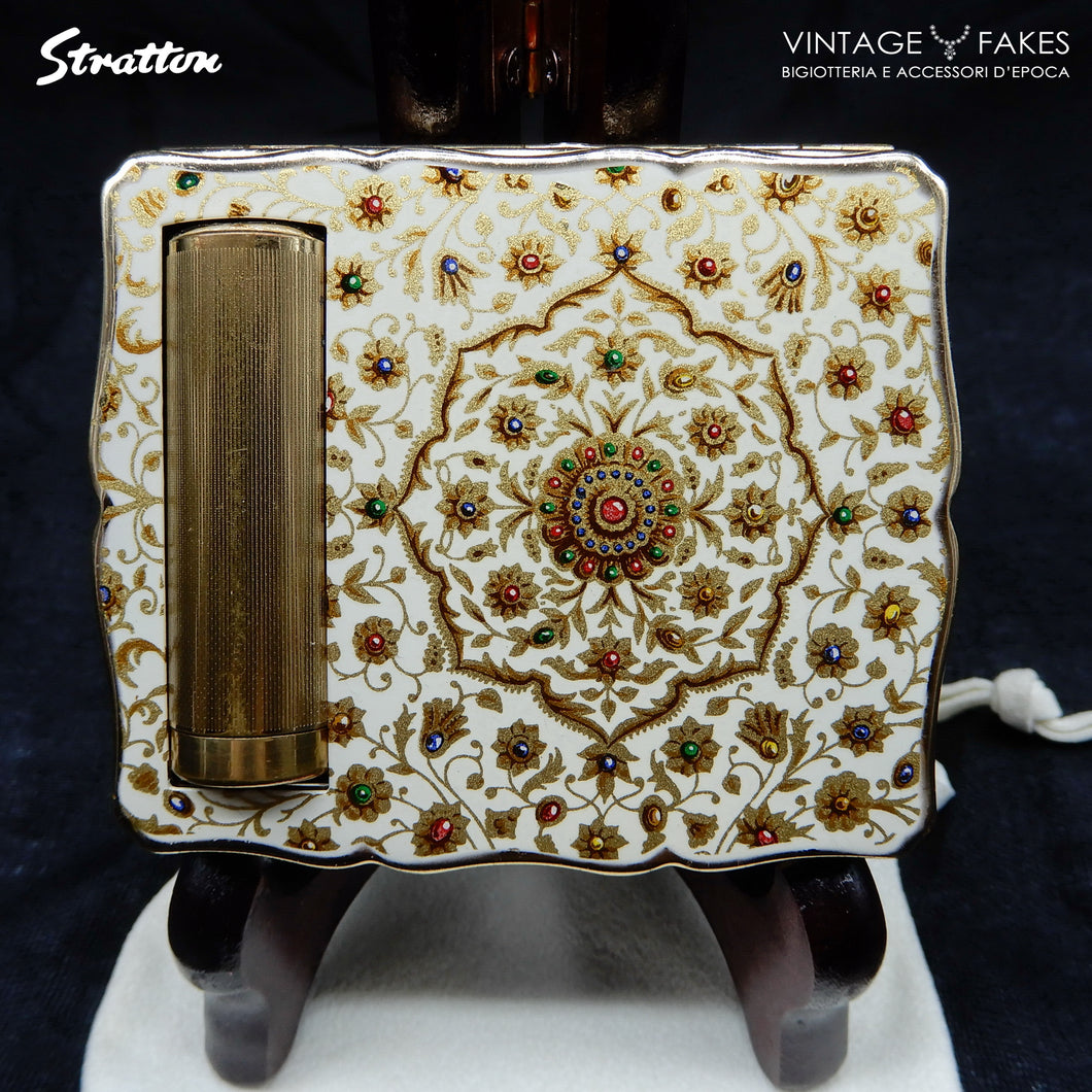 "Compatto Beauty Vintage STRATTON Anni '50 ""Empress Duo"" Fantasia Floreale con Smalti Policromi"