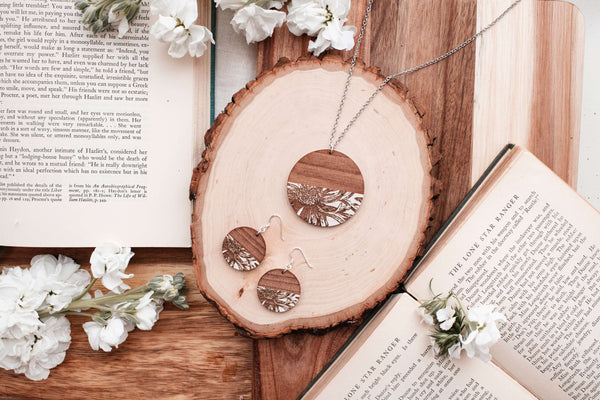 Grounded Goods Design- Circle Flower Pendant Necklace