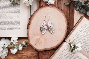 Grounded Goods Design- Large Diamond Sprout White Earrings