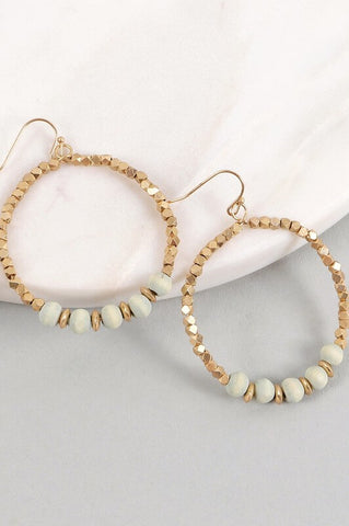 Verity Wooden Bead Hoop Earrings