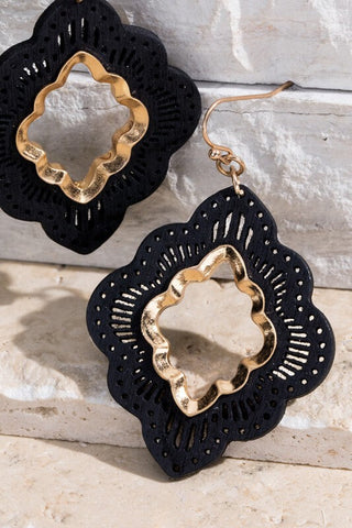 Anna Wood Flower Filigree Earrings